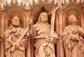 Christus Schüler Statuen Gotischen Kreuzgang Monestir Kloster von Montserrat, Barcelona, Katalonien, Spanien