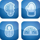 """picture of igloo  - All things (objects) which are related to a winter time. Pictured here left to right top to bottom:  Temperature Winter gloves Winter jacket Igloo.  All icons are part of the """"2D Cobalt Icons Set"""" saved as an EPS version 10. - JPG"""