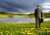 businessman on a meadow
