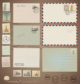 Vector set: Vintage postcard designs, envelopes and stamps.