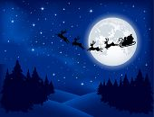 stock photo of moon silhouette  - Background with Santa - JPG