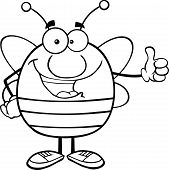 Black And White Pudgy Bee Cartoon Character Giving A Thumb Up