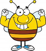 Smiling Pudgy Bee Cartoon Character Showing Muscle Arms