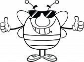 Black And White Pudgy Bee With Sunglasses Giving A Double Thumbs Up