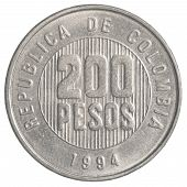 pic of colombian currency  - 200 Colombian pesos coin isolated on white background - JPG