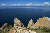 Coastal Cliffs Of The Island Olkhon. Lake Baikal, Russia.