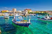 stock photo of historical ship  - Adriatic Town of Razanac colorful waterfront Dalmatia Croatia - JPG