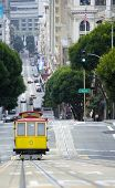 Elevated view of tram on uphill ascent San Francisco