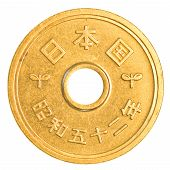 stock photo of japanese coin  - 5 japanese yens coin isolated on white background - JPG