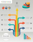 Colorful Infographic Diagram Social Media Icons Illustration.