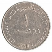 picture of dirhams  - one United Arab Emirates dirham coin isolated on white background - JPG