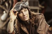 Beautiful Woman Pilot: Vintage Photo
