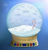Snow Globe With Percents Discounts. Vector Illustration.