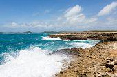Waves Crashing On Coastline At Devil's Bridge Antigua
