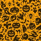 stock photo of bat  - Halloween seamless pattern with pumpkin - JPG