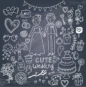 Vintage wedding set in cartoon style on chalkboard background. Couple of lovers, birds, dog, vine, r