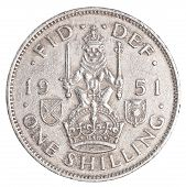 picture of shilling  - one old british shilling coin isolated on white background - JPG
