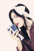 woman performer singing karaoke
