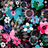 stock photo of lilas  - Seamless dark floral pattern with colorful flowers translucent butterflies and decorative circles  - JPG
