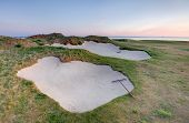 Golf Bunkers At Sunrise.