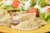 Chicken Portabella Ravioli With Salad