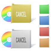 Cancel. Box with compact disc. Raster illustration. Vector version is in my portfolio.