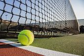 stock photo of indoor games  - Tennis court with tennis ball close up - JPG