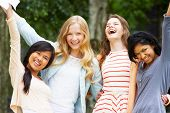 pic of 15 year old  - Four Teenage Girls Celebrating Successful Exam Results - JPG