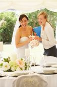 stock photo of marquee  - Bride With Wedding Planner In Marquee - JPG