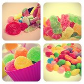 a collage of four pictures of different candies, such as jelly beans, gumdrops or gummy bears, with