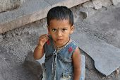 Little Indian Girl In The Streets Of Mumbai