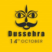 image of ravana  - Indian festival Dussehra concept with illustration of Ravana face on yellow background - JPG