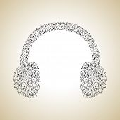 Headphone made from musical notes, musical concept can be use as poster, flyer or banner for musical concert and parties.