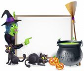 stock photo of witches cauldron  - Halloween sign background with cartoon witch and happy Halloween cauldron - JPG