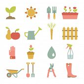 stock photo of flat-bed  - set of flat gardening icons - JPG