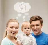 home, real estate and family concept - family with child dreaming about house