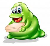 Illustration of a greenslime monster having a new job on a white background