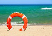 Life buoy on a beach