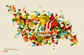 Colorful Fall Season Text With Triangles Concept Background Eps10 File.