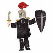 foto of arthurian  - retro cartoon medieval black knight - JPG