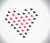 Black And Red Swans Flying Geese Flying Or Crane In The Shape Of Heart Against White background