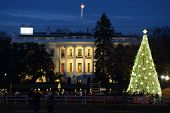 stock photo of washington monument  - The White House in Christmas  - JPG