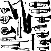 stock photo of clarinet  - 17 pieces of detailed vectoral brass instrument silhouettes - JPG