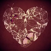 Abstract heart butterfly vector.