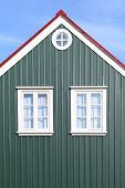 foto of ironclad  - Details of traditional Icelandic house with green iron cladding - JPG