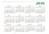 horizontal oriented calendar grid of 2010 year decorated