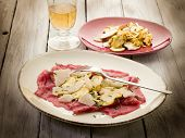 beef carpaccio with slice ovum mushroom and  parmesan flake