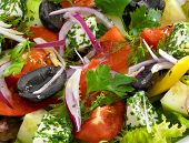Healthy vegetarian greek salad with tomatoes, feta cheese and olives served on a white round plate.