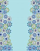 Floral Invitation Or Greeting Card On Blue  Background. Template Frame Design For Card