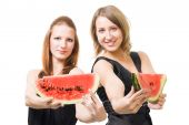 Two Woman With Lobule Of Watermelon